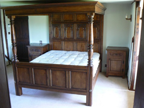 16th Century reproduction four poster oak beds